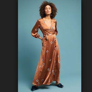 Printed bronze wrap dress ASTR the label.